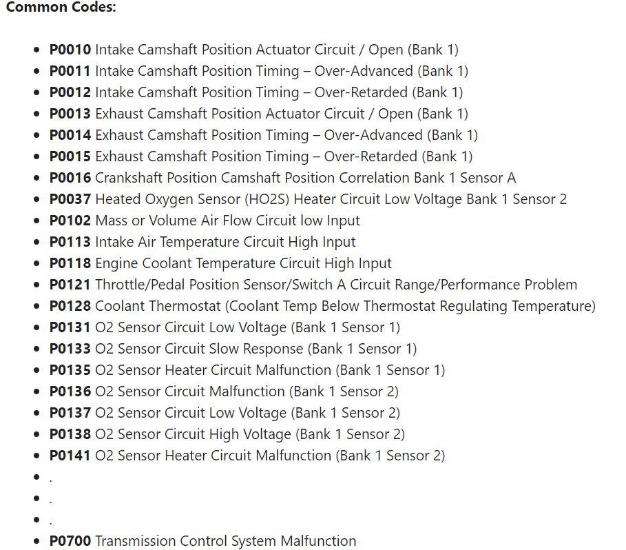 most popular obd2 codes
